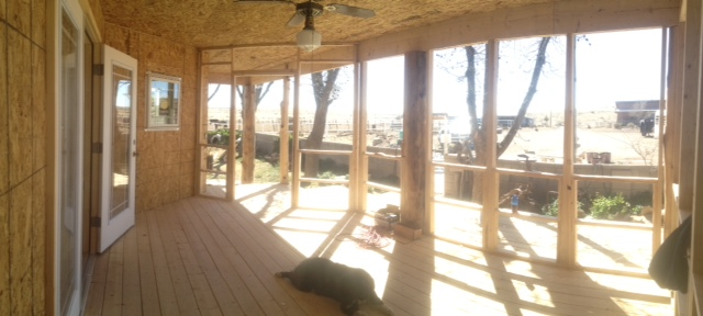 The framework is in place for the screened in porch