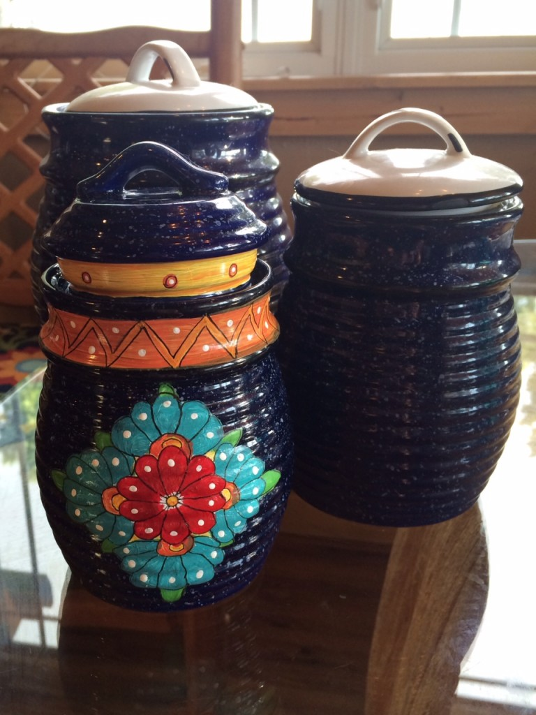 Becca is also giving these canisters a bright makeover so they'll tie in better with the other Mexican pottery in the kitchen.